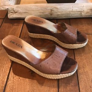Prada, Ostrich Leather Wedge Sandals, Size 7(37)